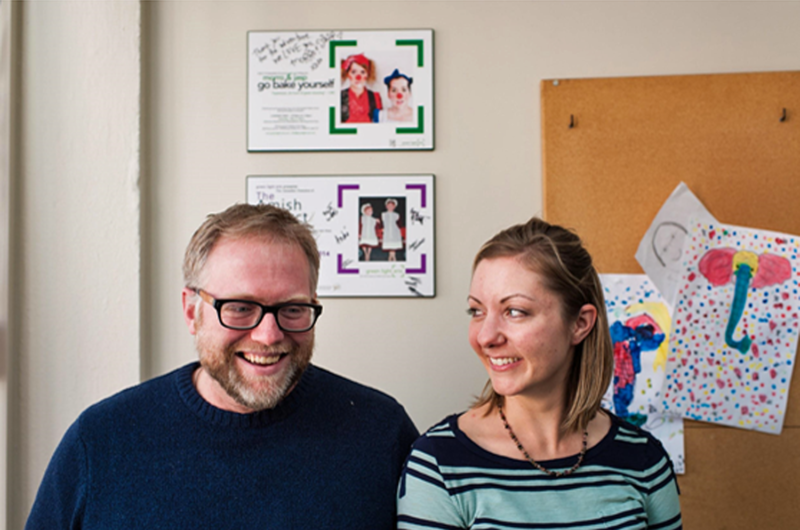 Photo by Scott McQuarrie features Matt White and Carin Lowerison at Green Light Arts' office
