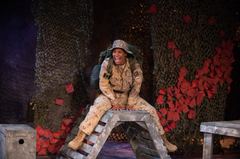 """Photo by Ben Laird features Tara Jackson in """"Brave Girl"""" by Emily Dallas, directed by Valmai Goggin, set and lights by Kathryn Smith, costumes by Rebecca Toon."""