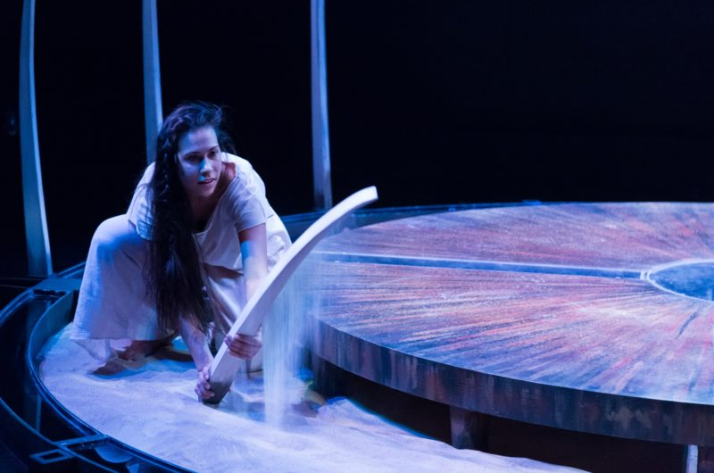 "Photo by Andre Reinders features Aria Evans in ""Finding Wolastoq Voice"" by Natalie Sappier, set and light design by Andy Moro"